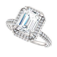The Jesse Ring Series - Eternal  Moissanite 2.45CT Center Emerald Cut EF Color with Diamond Halo