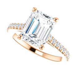 The Infinity Ring Series - Eternal Moissanite 2.45CT = 9mm X 7mm Emerald Cut Engagement Ring