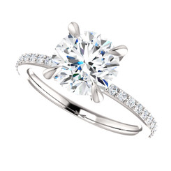 The Charlene NEO Moissanite 2CT Round Diamond Cut & Diamond Accented Solitaire Engagement Ring