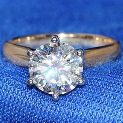 Eternal Moissanite Round Brilliant Cut 3CT Solitaire & Moissanite Set Profile  Engagement Ring