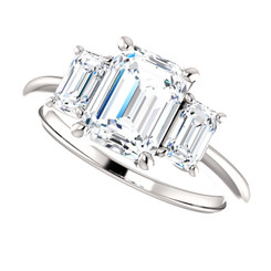 The Allie Ring Series  - NEO Moissanite 1.75 Emerald Cut Three Stone  Engagement Ring