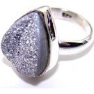 .925 Sterling Silver Trianglular Purple Druzy