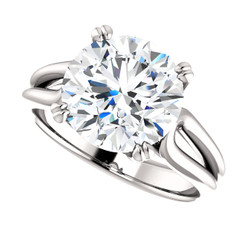 The Cecilia Ring Series - Eternal Moissanite 4CT Round Brilliant Cut Prong Set  Engagement Ring