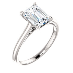 Custom Listing For Kim - Eternal Moissanite 8x6 Emerald Cut Center In our Infinity Solitiare.