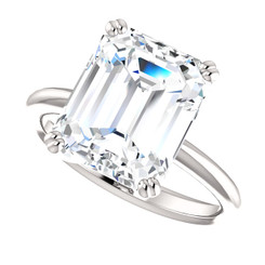 The Brinley Ring Series  - Eternal  Moissanite GH Color 5CT Center Emerald Cut Solitaire Engagement Ring