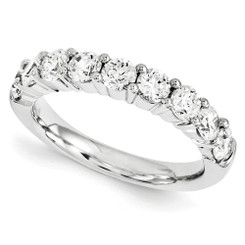 14K White Gold 9 Stone Eternal Moissanite Wedding Anniversary Band