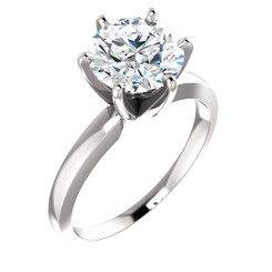 """Eternal Moissanite EF Color 14K Tiffany Style 6 Prong Solitaire Round """"Diamond Cut"""" Engagement Ring"""
