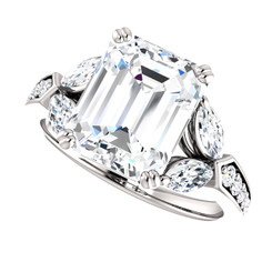 The Alivia Series Ring - Eternal Moissanite 3.50CT Emerald Cut Center Engagement Ring