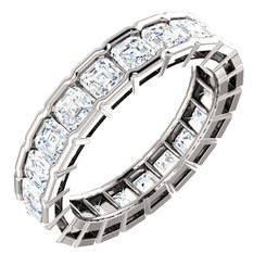 14K Eternal Moissanite 3.10CTW Asscher Cut Eternity Band - EF Color