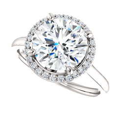 "The Lila Ring Series - Eternal Moissanite 3CT Center Round ""Diamond Cut"" GH Color with Diamond Halo"