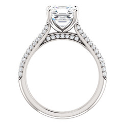 The Addie Ring Series - Eternal Moissanite 7mm = 1.80CT Center Asscher Cut EF Color & Pave Diamond Sides