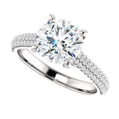 """The Addie Ring Series - Eternal Moissanite 8mm = 2CT Center Round """"Diamond Cut"""" EF Color & Pave Diamond Sides"""