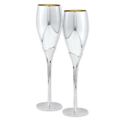 Silver-Plated Pair Of Champagne Flutes