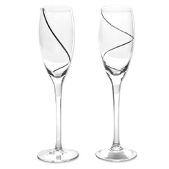Silver-Plated Swirl Glass Toasting Flutes