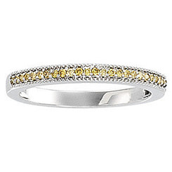 Ladies 1/8CTTW Natural Yellow Diamond Round Brilliant Prong Set Band 14K White Gold