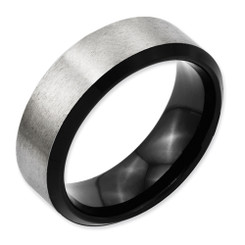 8mm Beveled Edge and Black IP Titanium Band Comfort Fit