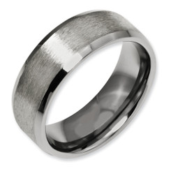 8mm Beveled Edge Titanium Band Comfort Fit