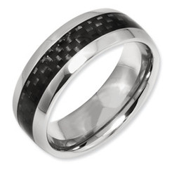 8mm Carbon Fiber Inlay Titanium Band Comfort Fit