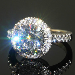 3.25CTTW NSCD Diamond Solitaire Engagement Ring with Halo - Sterling Silver .950