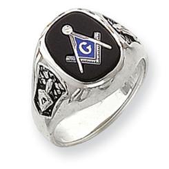 14K White Gold Masonic Ring with Black Onyx Stone & Solid Back