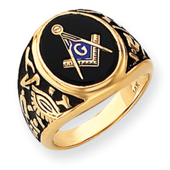 14K Yellow Gold Masonic Ring with Black Onyx Oval Cabochon Cut Stone
