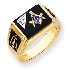 14K Yellow Gold Masonic Ring with Black Onyx Stone & Diamond