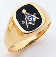 Men's Master Mason Ring Cushion Shaped (Open Back)