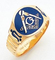 Men's Master Mason Ring w/ Blue Enamel & Solid Back