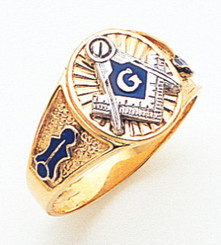 Mens Solid Back Master Mason Ring