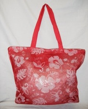 Hibiscus  Mesh Beach Tote Red