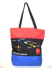 Hawaiian Island Map Tri color Tote
