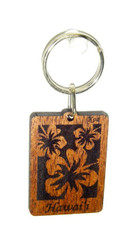 Hawaiian Koa Key Chain - Hibiscus