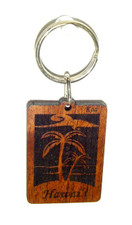 Hawaiian Koa Key Chain - Coconut Trees