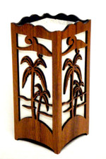 Koa Laser cut Candle Holder Palm trees