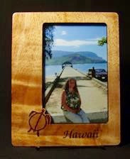 Koa wood frame with Honu design
