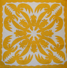 "Hawaiian Quilt  Pineapple Palm  - Yellow 42""x42"""
