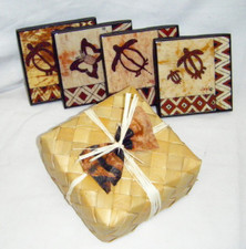 Hawaiian Tapa Coasters In Lauhala set of 4