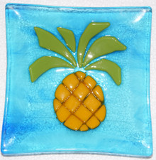 Hawaiian Pineapple On Cyan Blue Plate