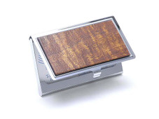 Hawaiian Koa Business Card Holder- Silver Koa