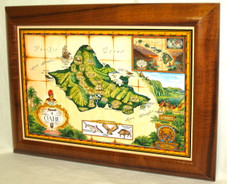 Hawaiian Koa Framed Antique Map of Oahu Giclee
