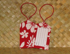 Hawaiian Paradise Retro Luggage Tag- Red/White