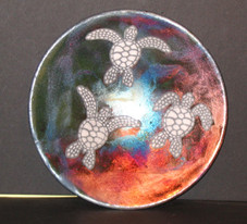 Hawaiian RAKU Plate - with Honu Design - 9 1/2  inches