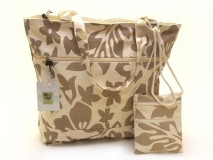 Hawaiian TOTE -Hibiscus Canvas ZIPPER w/ Small Purse - KHAKI