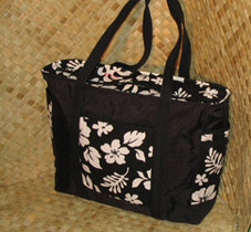 Hawaiian TOTE -Paradise Retro Bag- Black/White