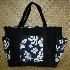 Hawaiian TOTE -Paradise Retro Bag- Navy/White