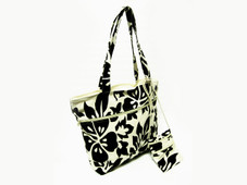 Hawaiian TOTE- Hibiscus Canvas ZIPPER Bag w/ Small Purse - BLACK