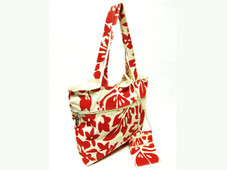 Hawaiian TOTE- Hibiscus Canvas ZIPPER w/ Small Purse - RED