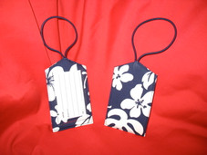 Paradise Retro Luggage Tag- Navy/White