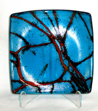 Blue Lava Glass Plate