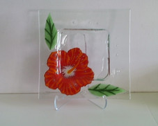 """Red hibiscus Glass Plate, 8"""""""